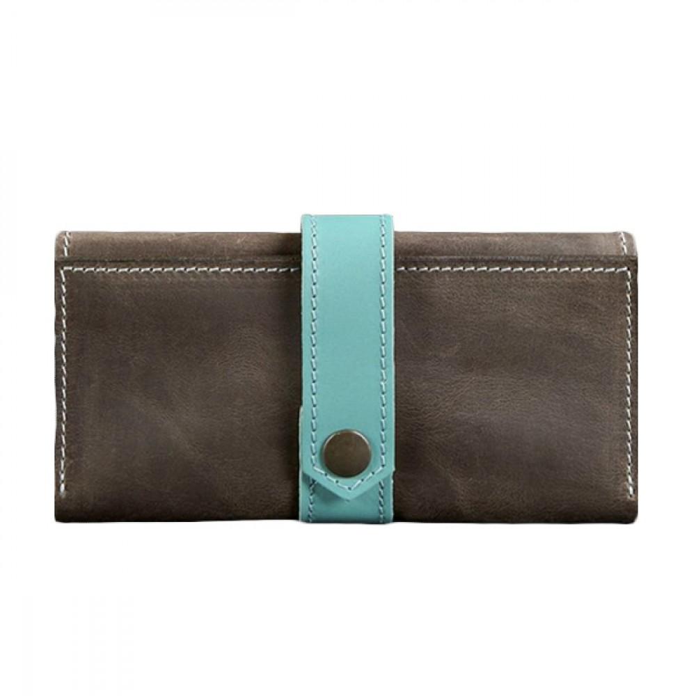 Женский кошелёк BlankNote 3.0 Орех-Тиффани натуральная кожа коричнево-голубой BN-PM-3-o-t