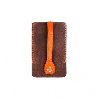 Ключница на кнопке BlankNote 1.0 Орех-Апельсин натуральная кожа BN-KL-1-o-a коричнево-оранжевая