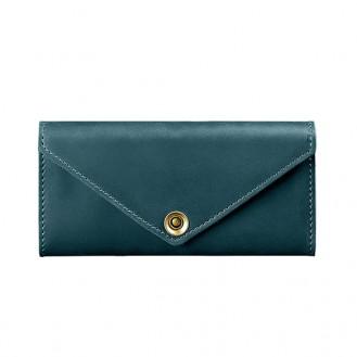 Женский кошелёк на кнопке BlankNote 1.0 Керри Малахит натуральная кожа crust BN-W-1-malachite тёмно-зелёный