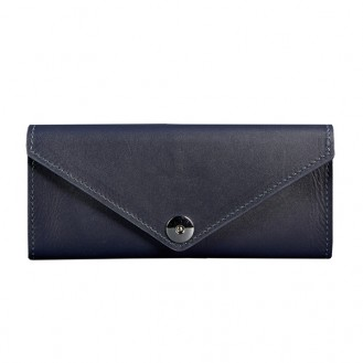 Женский кошелёк на кнопке BlankNote 1.0 Керри Сапфир натуральная кожа BN-W-1-navy-blue тёмно-синий