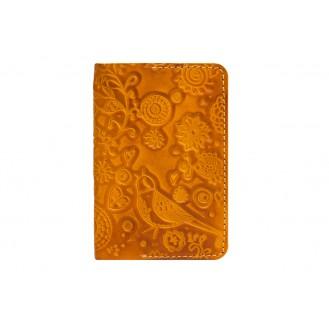 Кожаная обложка для паспорта Gato Negro Birds GN248 Orange