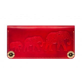 Кожаный кошелёк Gato Negro Three Elephants GN220 Red