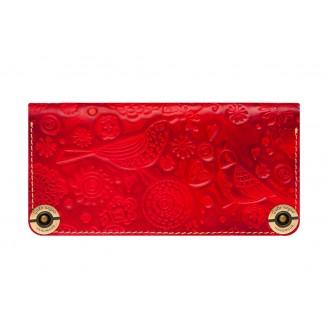 Кожаный кошелёк Gato Negro Birds GN213 Red