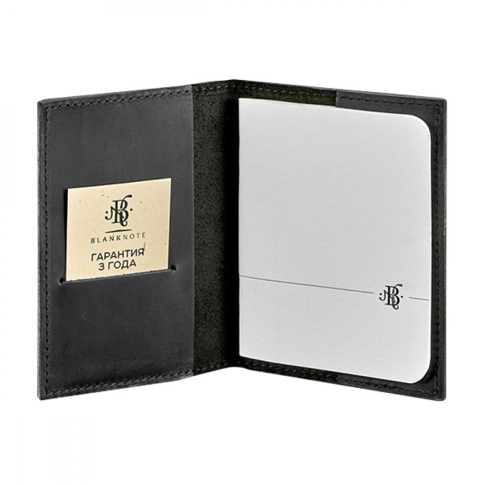Фото 1Обложка для паспорта BlankNote 1.2 Графит натуральная кожа crust чёрная BN-OP-1-2-g
