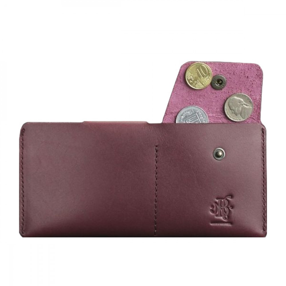 Фото 3Женский кошелёк на кнопке BlankNote 8.0 Виноград натуральная кожа crust бордовый BN-PM-8-vin