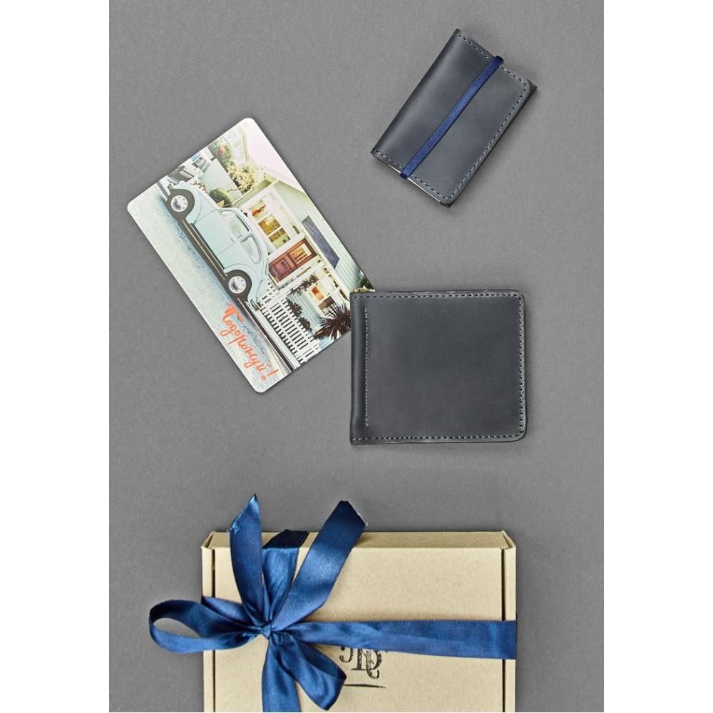 Фото 1Мужской подарочный набор аксессуаров BlankNote Ночное небо Токио (портмоне + кард-кейс + открытка) натуральная кожа crazy horse синий BN-set-access-8