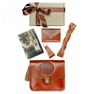 Женский набор аксессуаров BlankNote Коньяк Будапешт (сумка + кард-кейс + браслет + брелок) натуральная кожа crust светло-коричневый BN-set-access-23