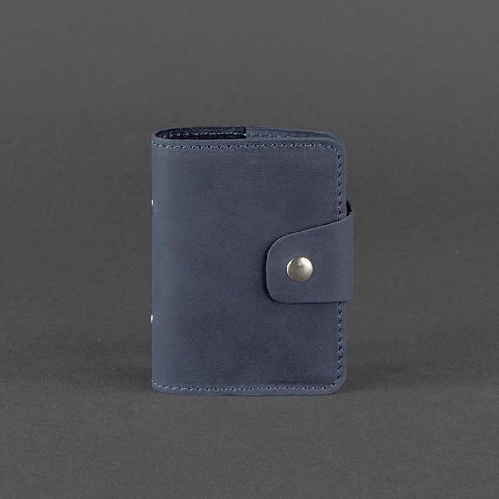 Фото 4Визитница на кнопке BlankNote 7.1 Ночное небо (книжечка) натуральная кожа синяя BN-KK-7-1-nn