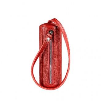 Ключница на молнии BlankNote 3.0 Тубус Рубин натуральная кожа flotar красная BN-KL-3-rubin