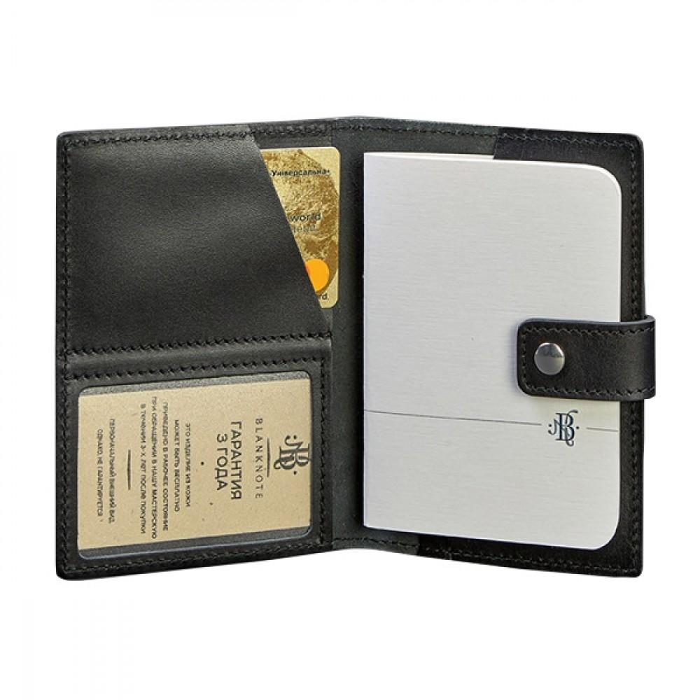 Фото 1Обложка для паспорта на кнопке BlankNote 5.0 (с окошком) Графит натуральная кожа crust чёрная BN-OP-5-g
