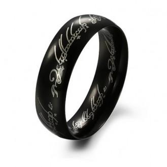 Мужское кольцо Всевластия из нержавеющей стали в чёрном цвете 152702