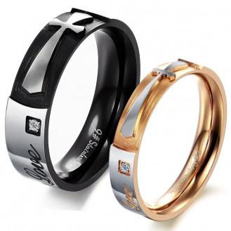 Парные кольца для двоих VELI бижутерия из нержавеющей медицинской стали с гравировкой Pure Love 152774