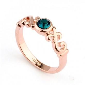 Женское кольцо VELI бижутерия с зелёным кристаллом Гермиона 684422