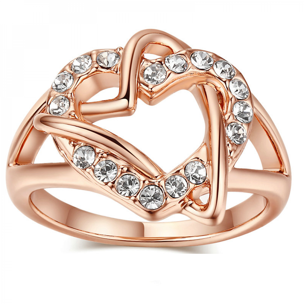 Женское кольцо бижутерия с белыми кристаллами в позолоте Сплетение сердец 576470