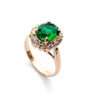 Женское кольцо VELI бижутерия с зелёным кристаллом La scalla 412034