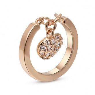 Женское кольцо с брелочком VELI бижутерия с белыми кристаллами My Heart 362490