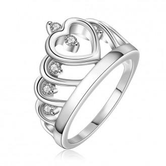 Женское кольцо VELI бижутерия с белыми чешскими кристаллами Корона Виктории 160391