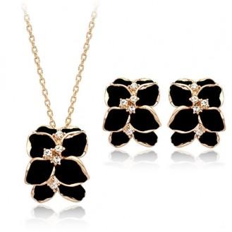 Комплект украшений (подвеска + серьги) с позолотой Восточные цветы (матовый) 455598 18K Gold Plated