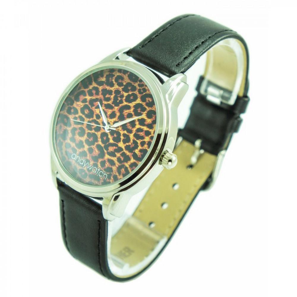 Фото 1Женские наручные часы Andywatch Леопард AW 032 на чёрном ремешке (экокожа)