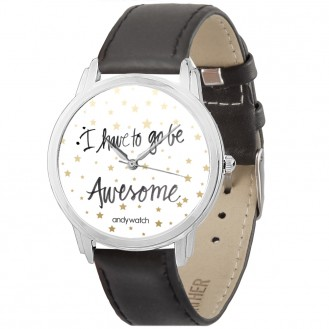 Женские часы Andywatch I have to go be awesome AW 172 чёрные
