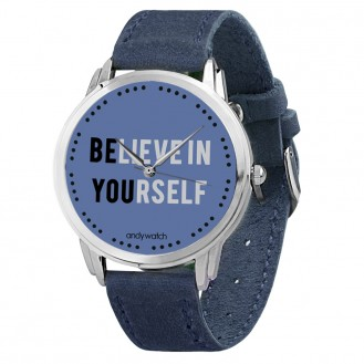 Наручные часы Andywatch Believe in yourself (Верь в себя) AW 171 на синем ремешке (натуральная кожа)