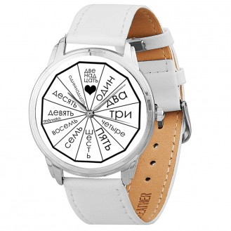 Женские наручные часы Andywatch Letters style AW 142 на белом ремешке (экокожа)