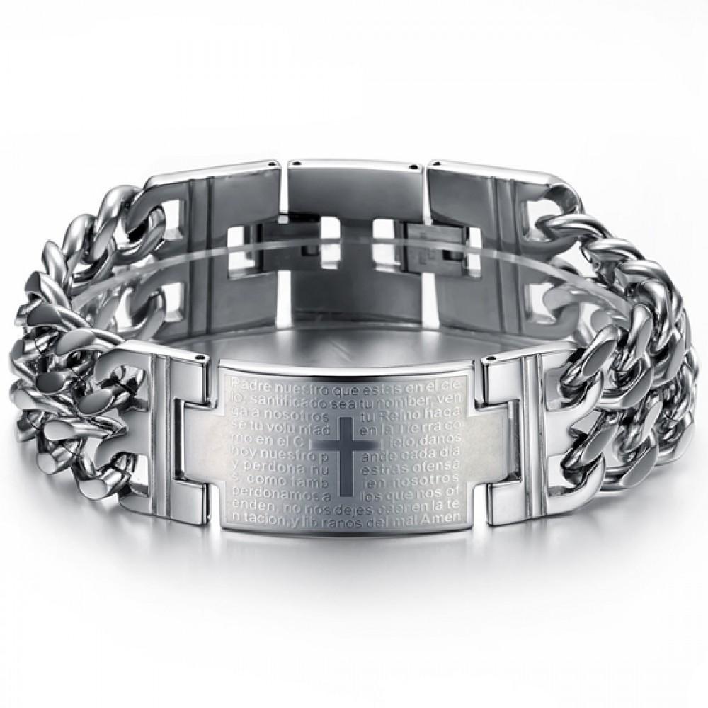 Мужской браслет бижутерия из нержавеющей медицинской стали с молитвой Отче Наш 152771